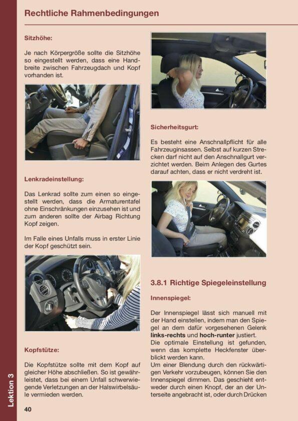 Beispielseite Lektion 3 über Sitzhöhe, Sicherheitsgurt, Lenkradeinstellung und Spiegeleinstellung
