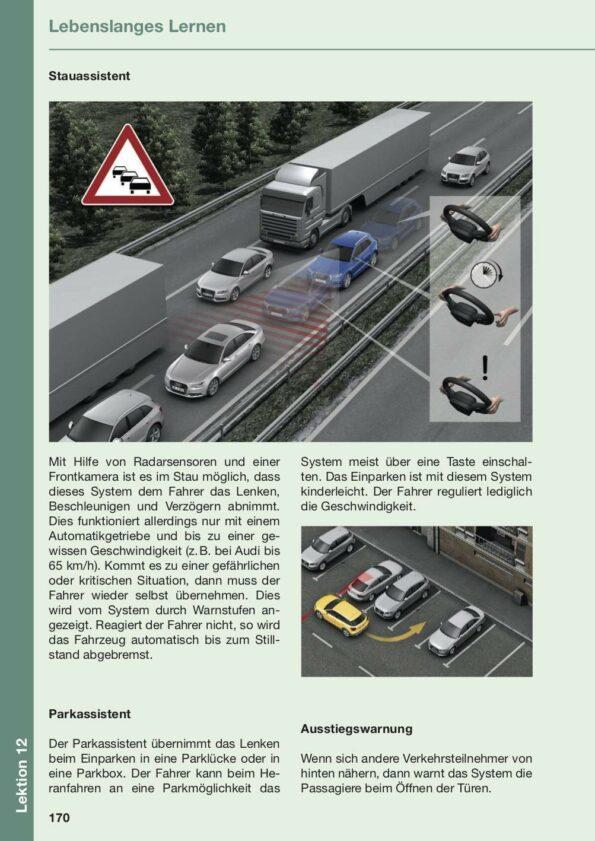 Beispielseite Lektion 12 über Stauassistent, Parkassistent und Ausstiegwarnung