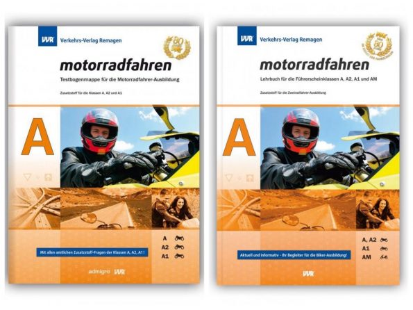 Lehrbuch und Fragebogen mit Spezialwissen für die Klassen A, A2, A1 und AM, aufgeteilt in 4 themenbezogene Lektionen.
